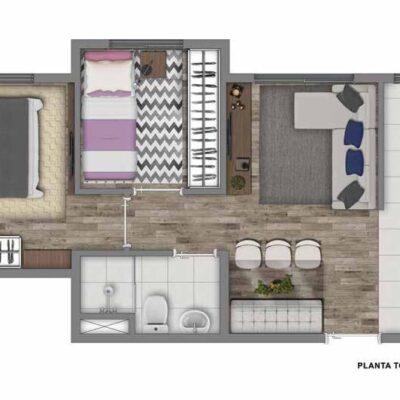 Vivaz Jardim Prudência - Planta 38m² - 2 dormitórios
