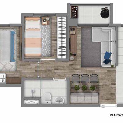 Vivaz Jardim Prudência - Planta 40m² - 2 dormitórios