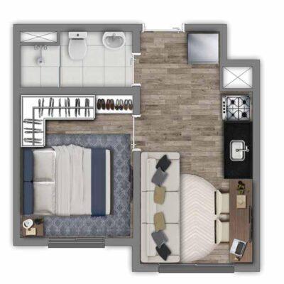 Vivaz Transamérica - Planta 24m² - 2 dormitórios