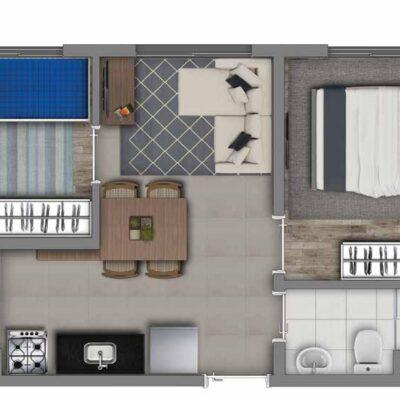 Vivaz Transamérica - Planta 33m² - 2 dormitórios