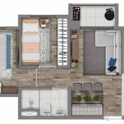 Vivaz Transamérica - Planta 41m² - 2 dormitórios