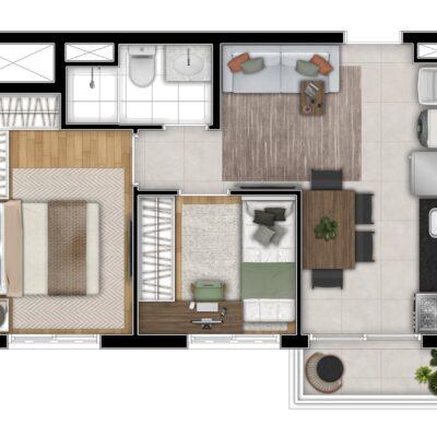 Art Nações Unidas - Planta 38m² - 2 dormitórios com varanda