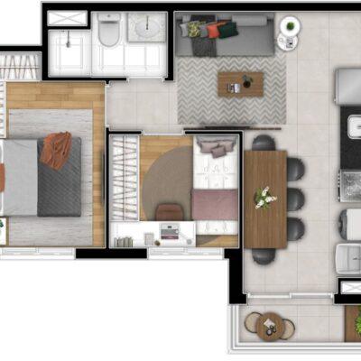 Art Nações Unidas - Planta 40m² - 2 dormitórios