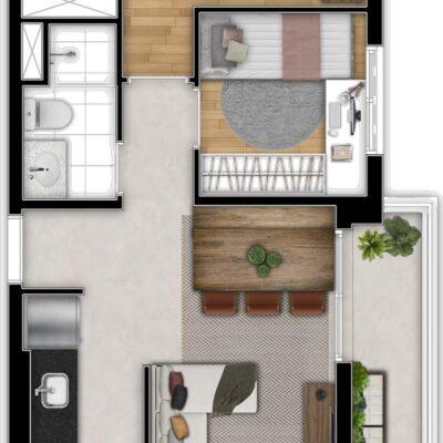 Art Nações Unidas - Planta 57m² - 2 dormitórios com varanda