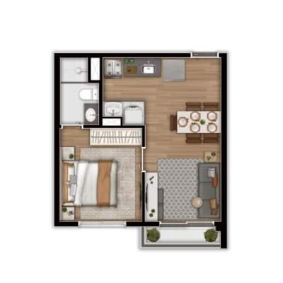 Linea Vila Sônia - Planta 31m² - 1 Dormitório