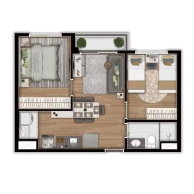 Linea Vila Sônia - Planta 39m² - 2 Dormitórios
