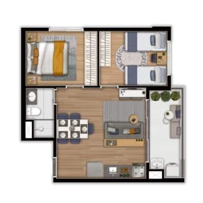 Linea Vila Sônia - Planta 44m² - 2 Dormitórios