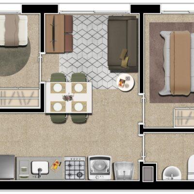 Mundo Apto Praça da Sé - Planta 2 dormitórios