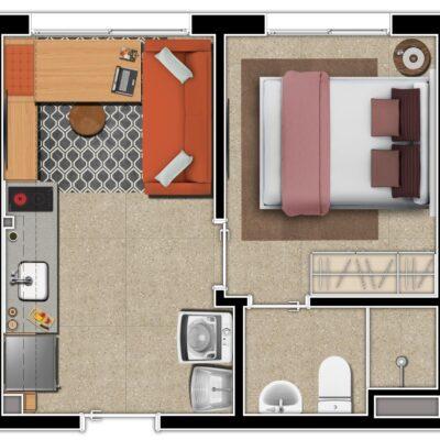 Mundo Apto Praça da Sé - Planta 1 dormitório