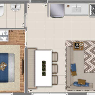Neo Conx Rio Bonito - Planta 33m² - 1 dormitório