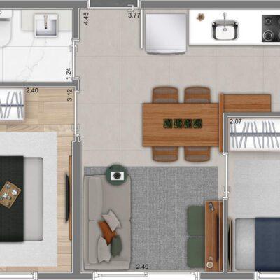 Neo Conx Rio Bonito - Planta 33m² - 2 dormitórios