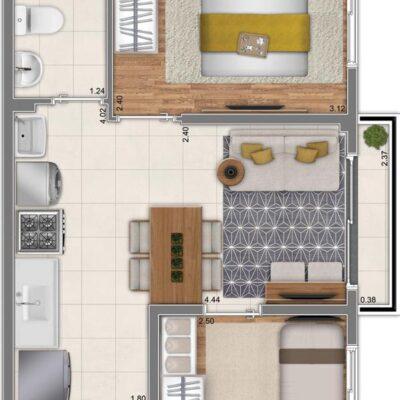 Neo Conx Rio Bonito - Planta 34m² - 2 dormitórios
