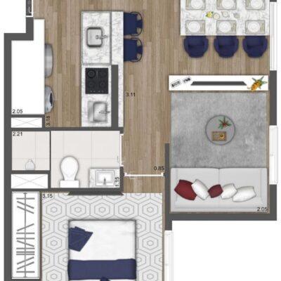 Neo Conx Santa Catarina - Planta 34m² - 1 dormitório