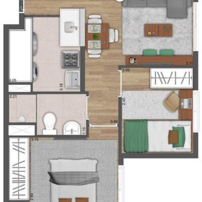 Neo Conx Santa Catarina - Planta 34m² - 2 dormitórios
