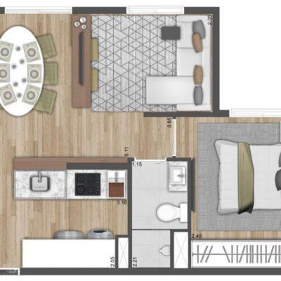 Neo Conx Santa Catarina - Planta 35m² - 1 dormitório