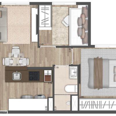 Neo Conx Santa Catarina - Planta 35m² - 2 dormitórios