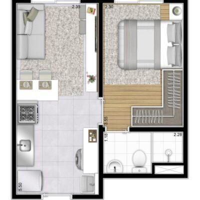 Plano & Mooca - Planta 27m² - 1 dormitório