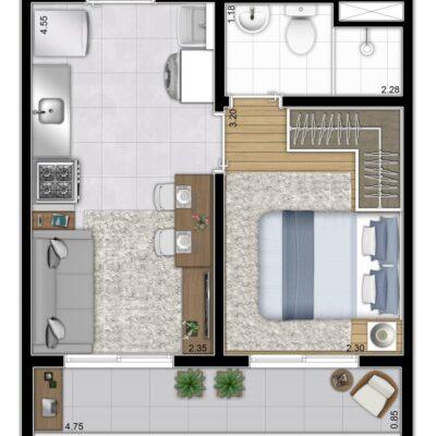Plano & Mooca - Planta 28m² - 2 dormitórios