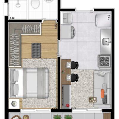 Plano & Mooca - Planta 31m² - 1 dormitório