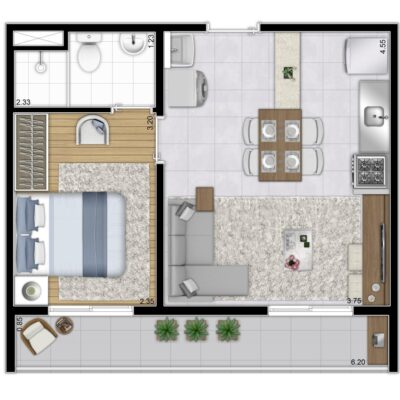 Plano & Mooca - Planta 37m² - 1 dormitório