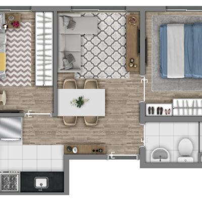 Vivaz Itaquera - Planta 36m² - 2 dormitórios