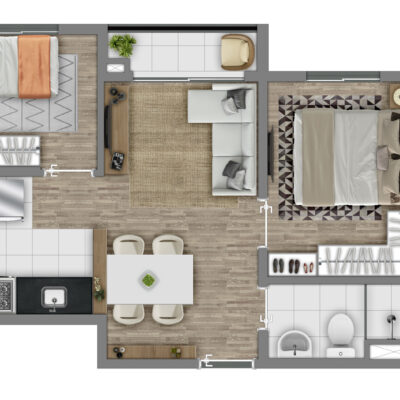 Vivaz Itaquera - Planta 36m² - 2 dormitórios com varanda