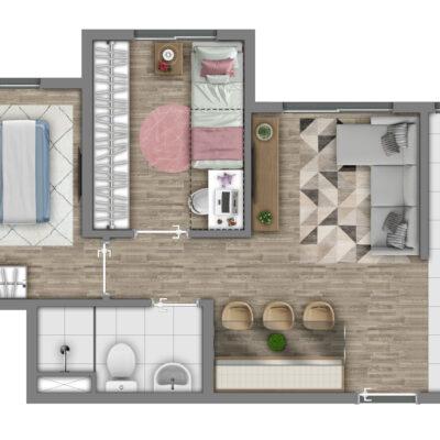 Vivaz Itaquera - Planta 41m² - 2 dormitórios