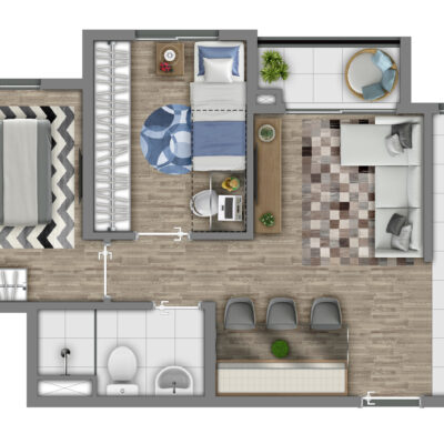 Vivaz Itaquera - Planta 41m² - 2 dormitórios com Varanda
