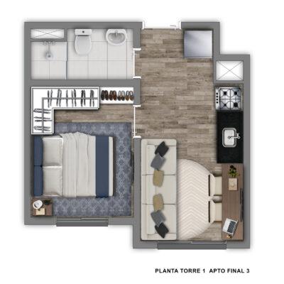 Vivaz Sacomã - Planta 24m² - 1 dormitório