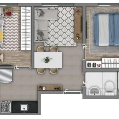 Vivaz Sacomã - Planta 36m² - 2 dormitórios