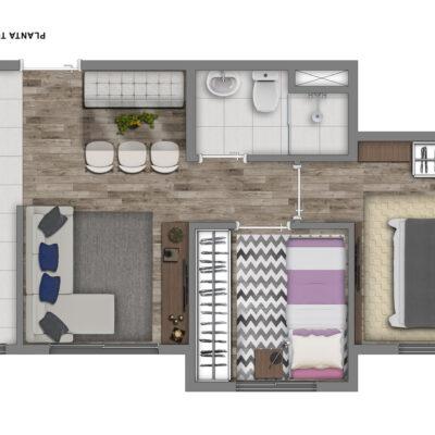Vivaz Sacomã - Planta 38m² - 2 dormitórios