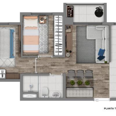 Vivaz Sacomã - Planta 40m² - 2 dormitórios com terraço