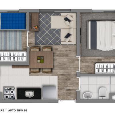 Vivaz Santo Amaro - Planta 33m² - 2 dormitórios
