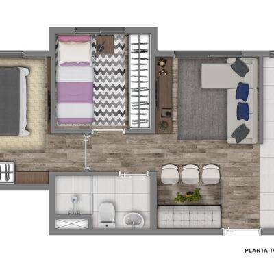 Vivaz Santo Amaro - Planta 38m² - 2 dormitórios