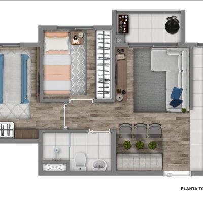 Vivaz Santo Amaro - Planta 40m² - 2 dormitórios
