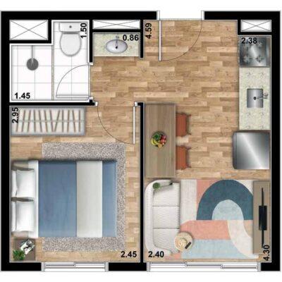 Bueno Ipiranga - Planta 25m² - 1 dormitório