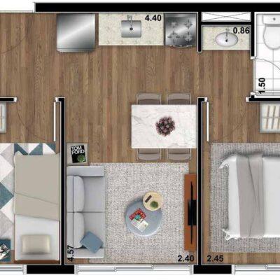 Bueno Ipiranga - Planta 36m² - 2 dormitórios