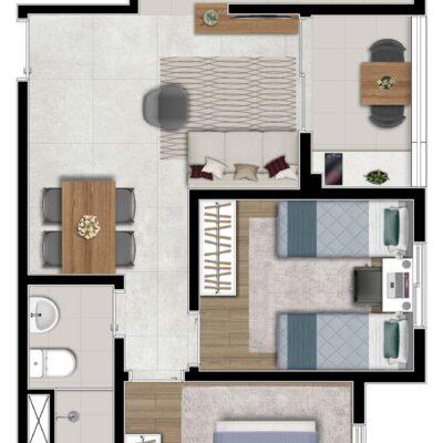 Klub Itaquera - Planta 47m² - 2 dormitórios