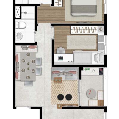 Klub Itaquera - Planta 51m² - 2 dormitórios