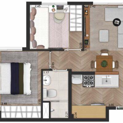 SP Life Cambuci - Planta 34m² - 2 dormitórios