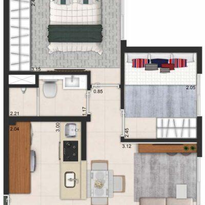 SP Life Cambuci - Planta 35m² - 2 dormitórios