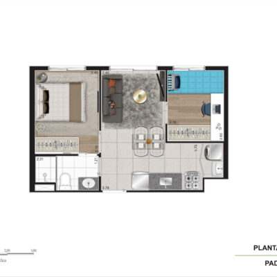 Viva Benx Cambuci - Planta 34m² - 2 dormitórios