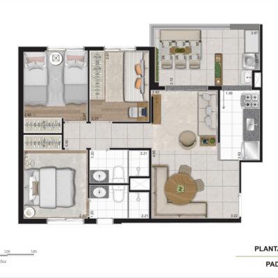 Viva Benx Cambuci - Planta 63m² - 3 dormitórios