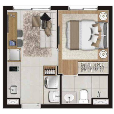 Viva Benx Estilo Vila Mariana - Planta 31m² - 1 dormitório