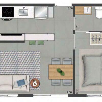 Viva Benx Nações Unidas - Planta 33m² - 1 dormitório