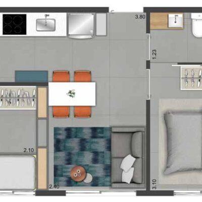 Viva Benx Nações Unidas - Planta 33m² - 2 dormitórios