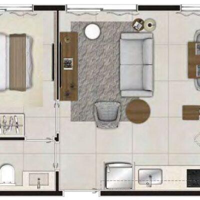 Viva Benx Santana - Planta 34m² - 1 dormitório