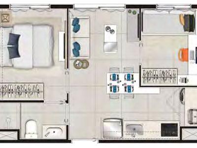 Viva Benx Santana - Planta 34m² - 2 dormitórios