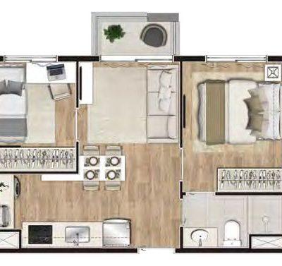 Viva Benx Santana - Planta 36m² - 2 dormitórios
