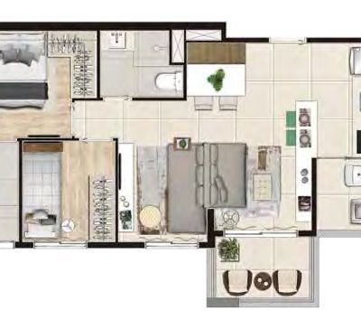 Viva Benx Santana - Planta 55m² - 2 dormitórios com Living Ampliado